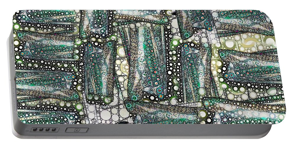 Abstract Portable Battery Charger featuring the digital art Rainbow Trout Thingies by Ron Bissett