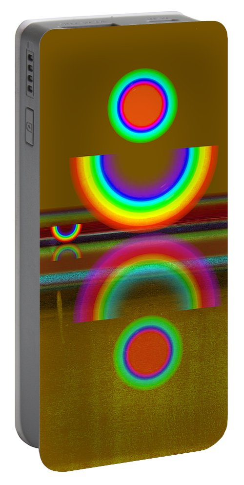 Reflections Portable Battery Charger featuring the painting Rainbow Warrior by Charles Stuart