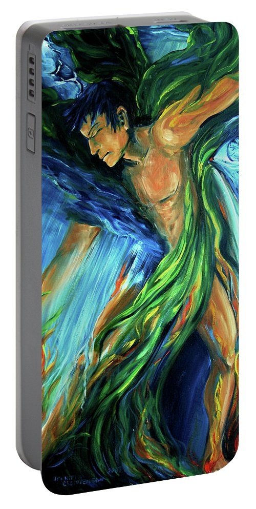Vision Quest Portable Battery Charger featuring the photograph Raindancer by Jennifer Christenson