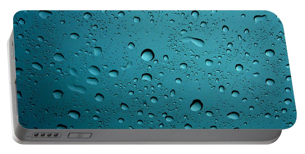 Abstract Portable Battery Charger featuring the photograph Raindrops by Linda Sannuti