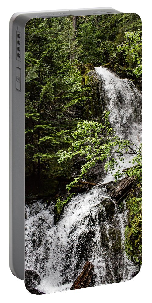 Mount Rainier Portable Battery Charger featuring the photograph Rainforest Falls by Adam Morsa