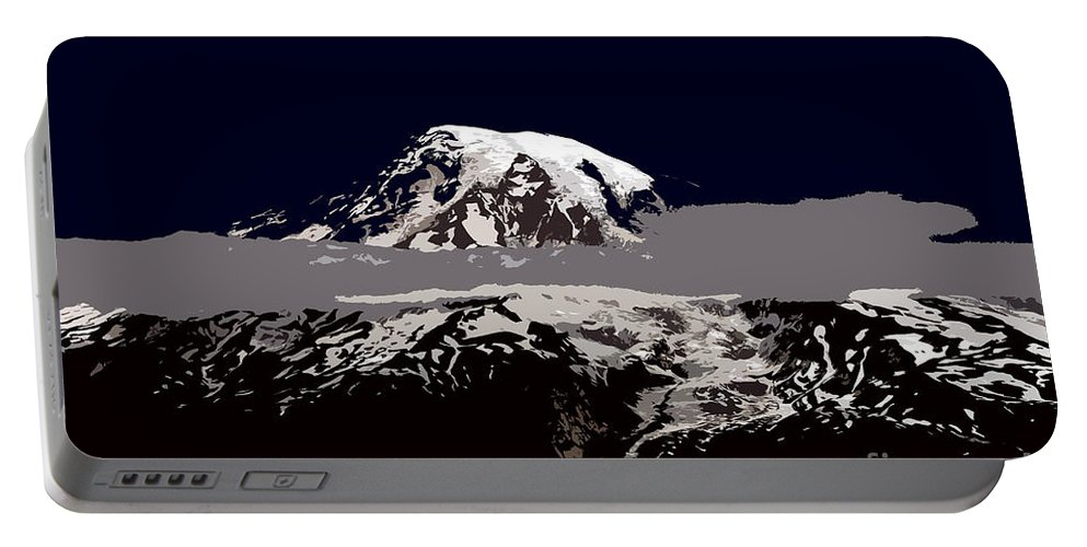 Mt Rainier Portable Battery Charger featuring the painting Rainier by David Lee Thompson