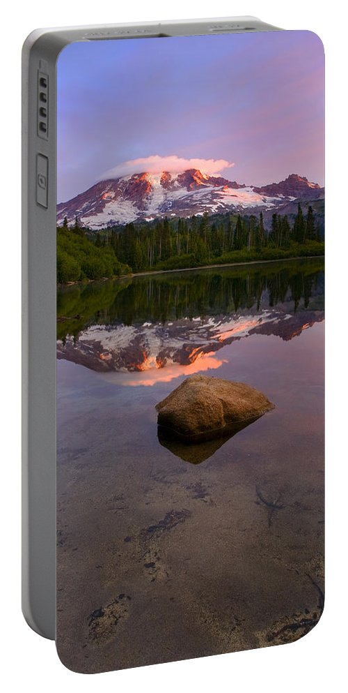 Mt. Rainier Portable Battery Charger featuring the photograph Rainier Dawn Breaking by Mike Dawson