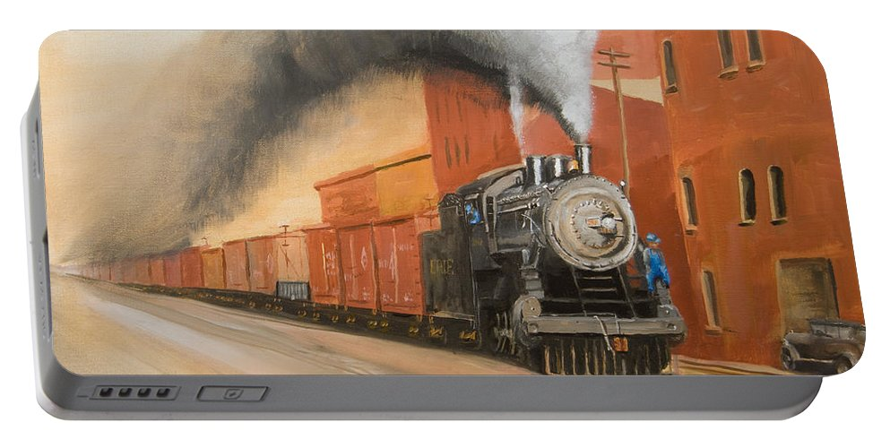 Erie Portable Battery Charger featuring the painting Raining Cinders by Christopher Jenkins