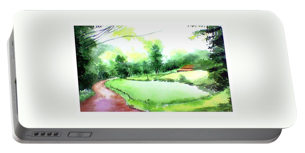 Landscape Portable Battery Charger featuring the painting Rains In West by Anil Nene