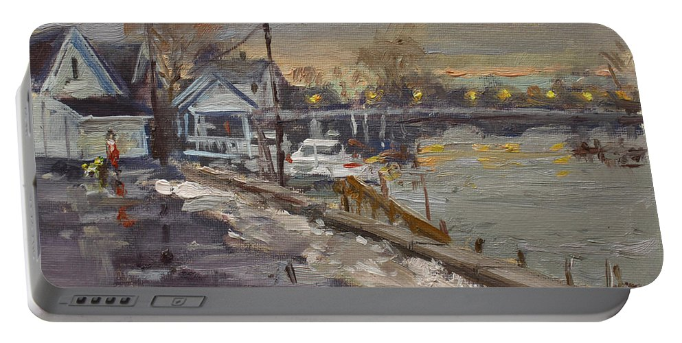 Rainy Portable Battery Charger featuring the painting Rainy And Snowy Evening By Niagara River by Ylli Haruni