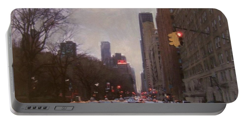 Rain Portable Battery Charger featuring the painting Rainy City Street by Anita Burgermeister