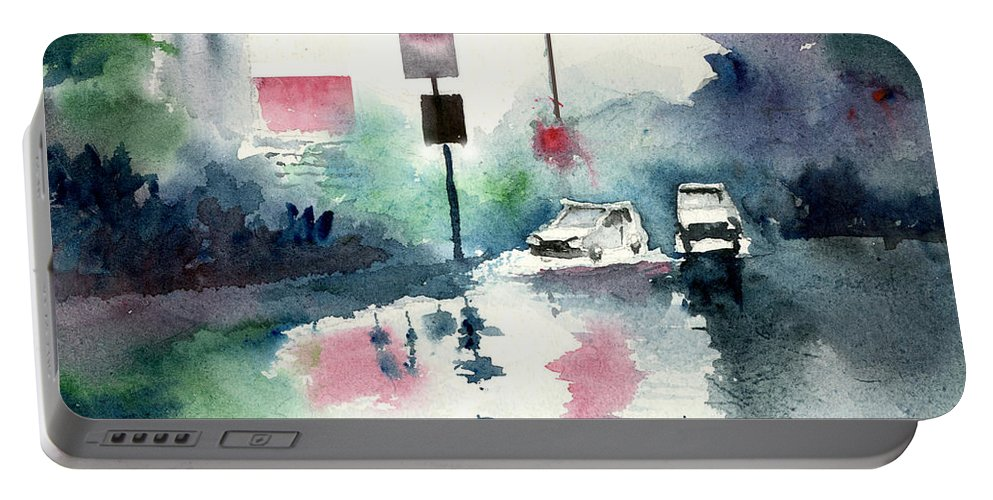 Nature Portable Battery Charger featuring the painting Rainy Day by Anil Nene