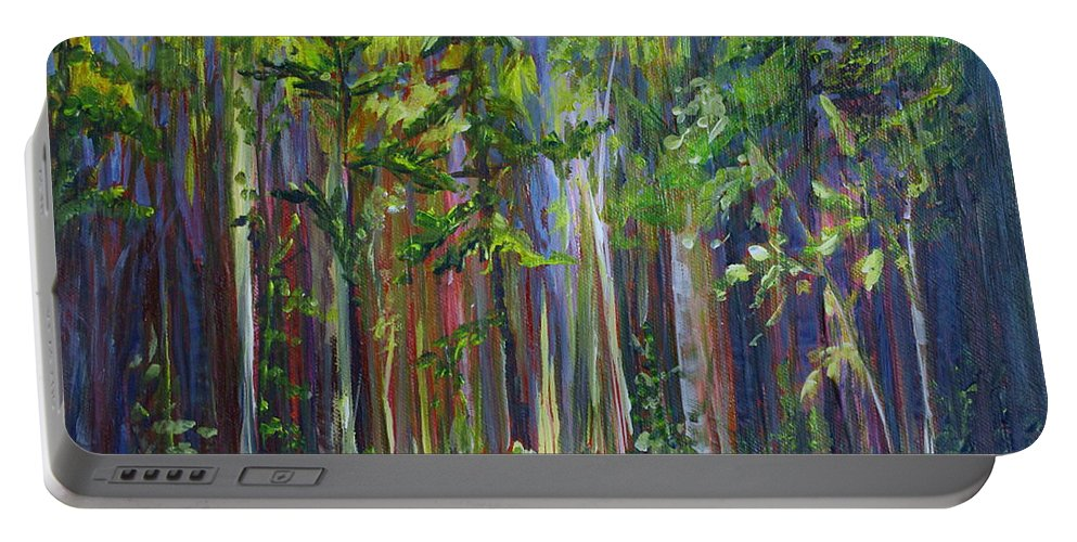 Forest Portable Battery Charger featuring the painting Rainy Day At Nutimik Lake by Joanne Smoley