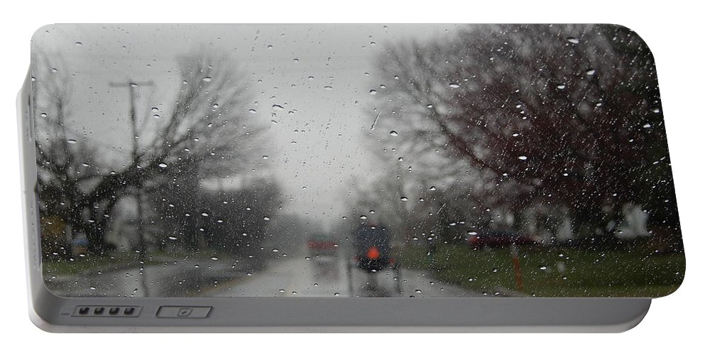 Amish Portable Battery Charger featuring the photograph Rainy Fall Day by Christine Clark