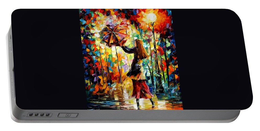 Afremov Portable Battery Charger featuring the painting Rainy Mood by Leonid Afremov