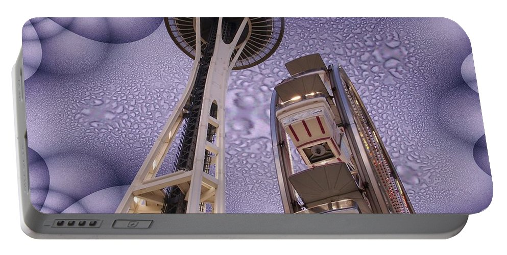 Seattle Portable Battery Charger featuring the digital art Rainy Needle by Tim Allen