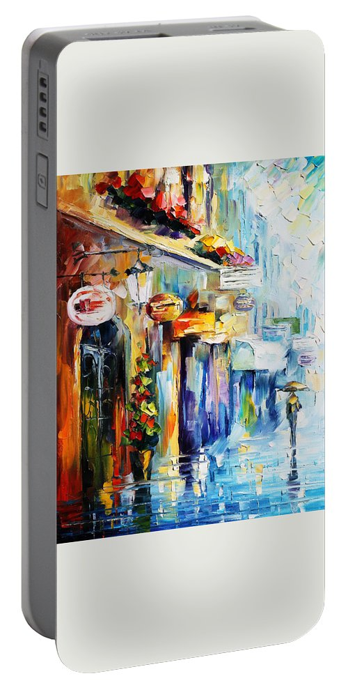 Afremov Portable Battery Charger featuring the painting Rainy Stroll by Leonid Afremov