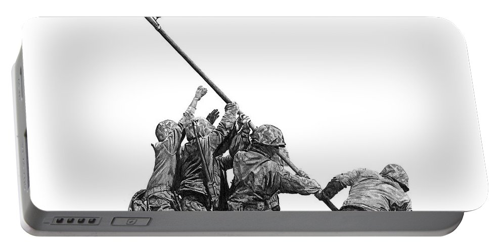 Iwo Jima Portable Battery Charger featuring the drawing Raising The Flag by Bobby Shaw