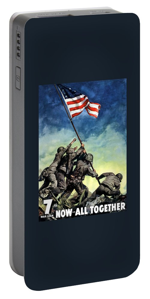 Iwo Jima Portable Battery Charger featuring the painting Raising The Flag On Iwo Jima by War Is Hell Store