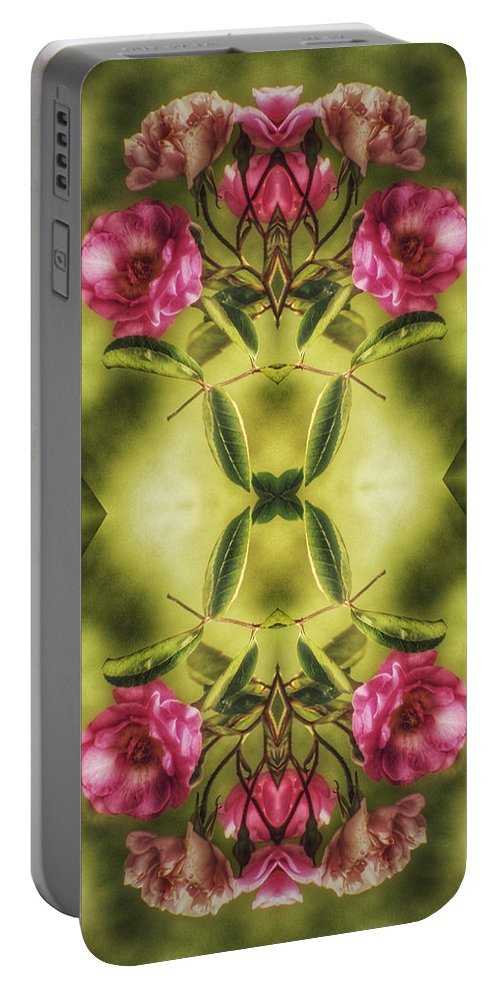 Flower Portable Battery Charger featuring the digital art Rambling Rose by Brenda Wilcox aka Wildeyed n Wicked