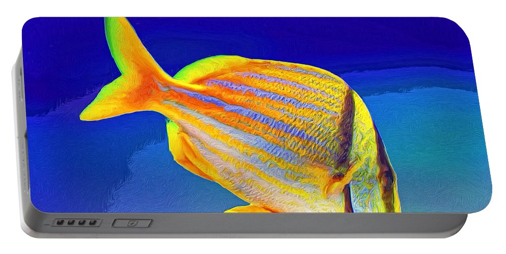 Fish Portable Battery Charger featuring the painting Ramone by Dominic Piperata