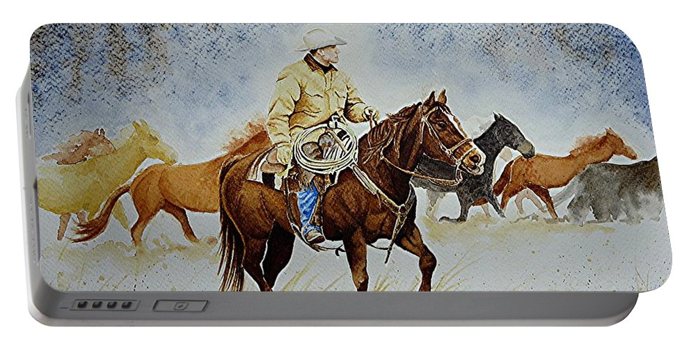 Art Portable Battery Charger featuring the painting Ranch Rider by Jimmy Smith
