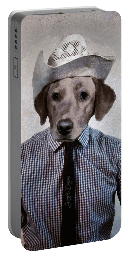Animal Portable Battery Charger featuring the painting Rancher Dog by Leonardo Digenio