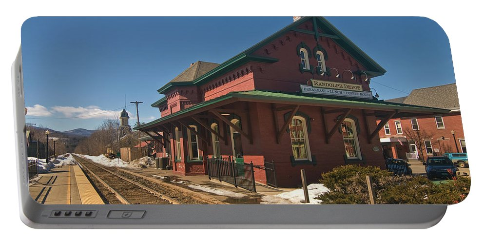 vermont Images Portable Battery Charger featuring the photograph Randolf Depot by Paul Mangold