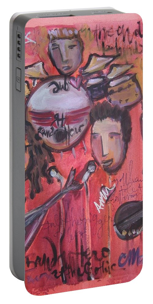 Red Portable Battery Charger featuring the painting Random Hero At The Gothic by Laurie Maves ART