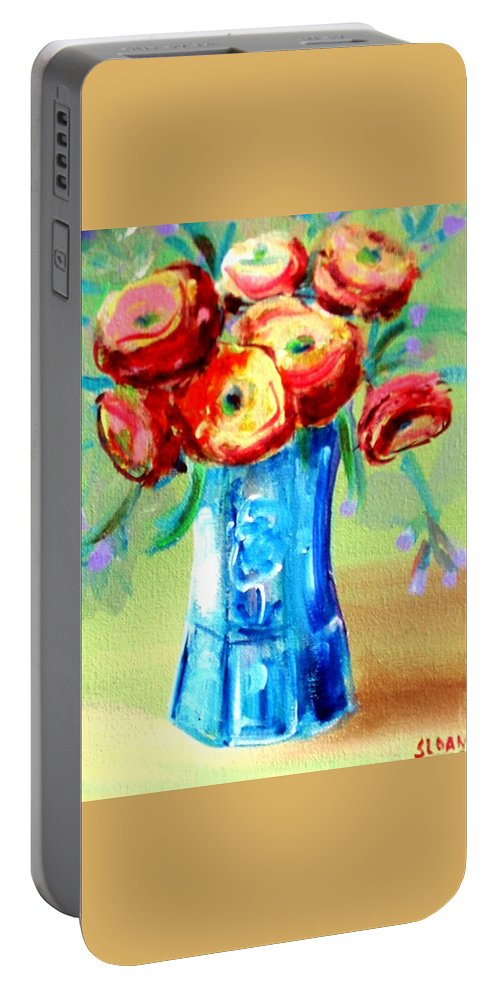Rannuculus Portable Battery Charger featuring the painting Rannunculus by Karen Sloan