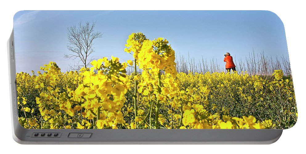 Europe Portable Battery Charger featuring the photograph Rape Field With Photographer by Heiko Koehrer-Wagner