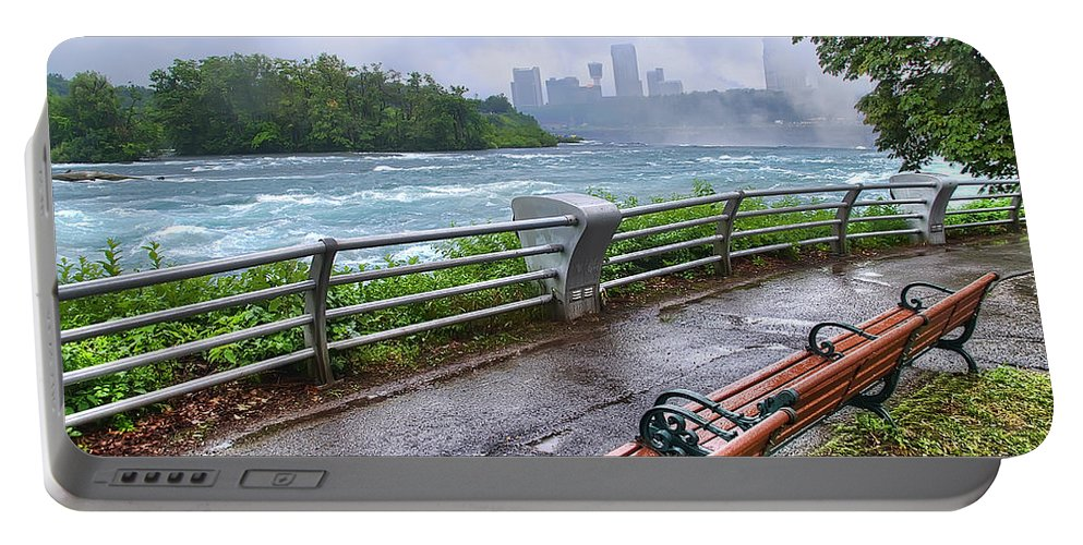niagara Falls Portable Battery Charger featuring the photograph Rapids In The Rain by Tammy Wetzel