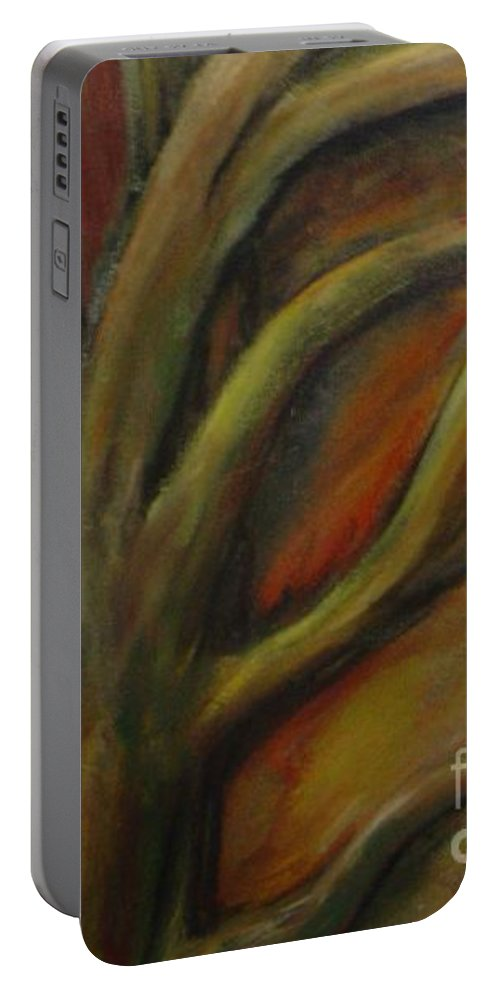 Tree Abstract Painting Expressionist Original Leila Atkinson Portable Battery Charger featuring the painting Rapt by Leila Atkinson