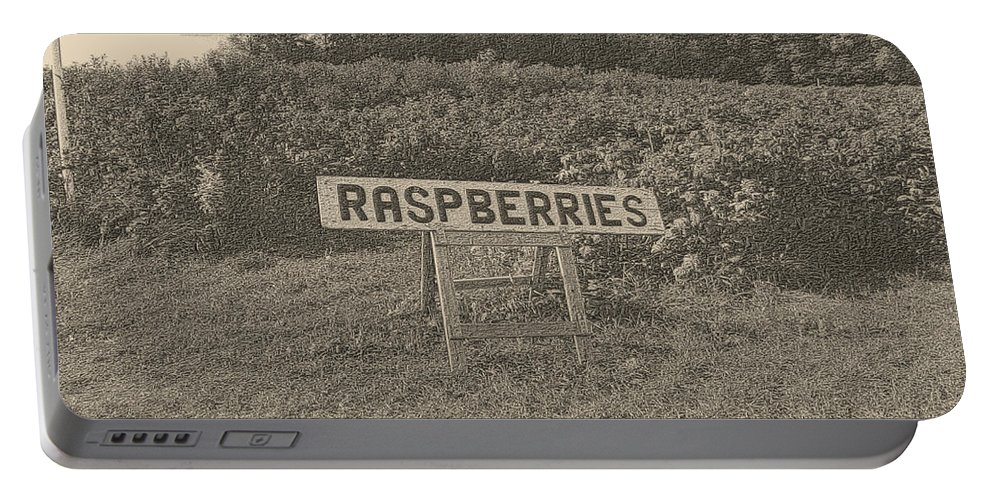 Country Portable Battery Charger featuring the photograph Raspberry Fields by September Stone