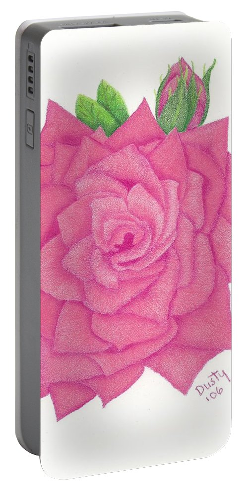 Rose Portable Battery Charger featuring the drawing Raspberry Pink by Dusty Reed