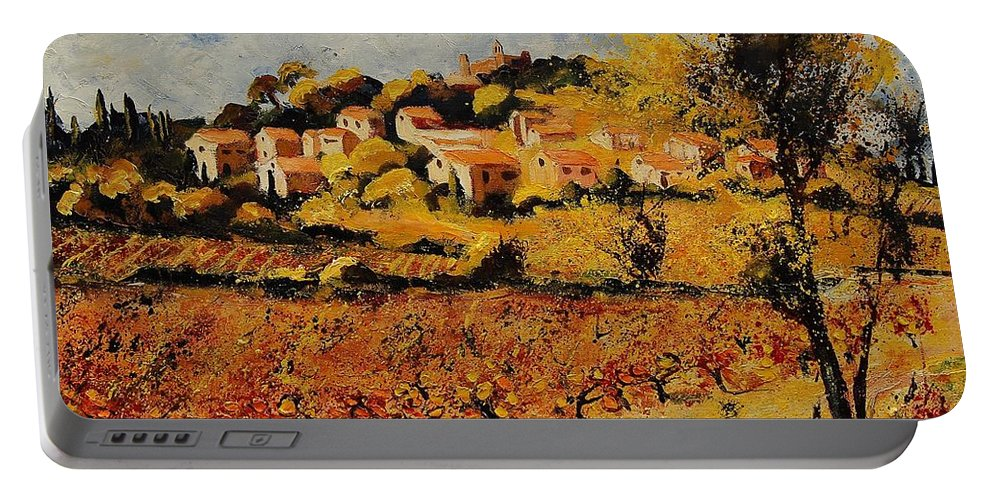 Provence Portable Battery Charger featuring the painting Rasteau Vaucluse by Pol Ledent