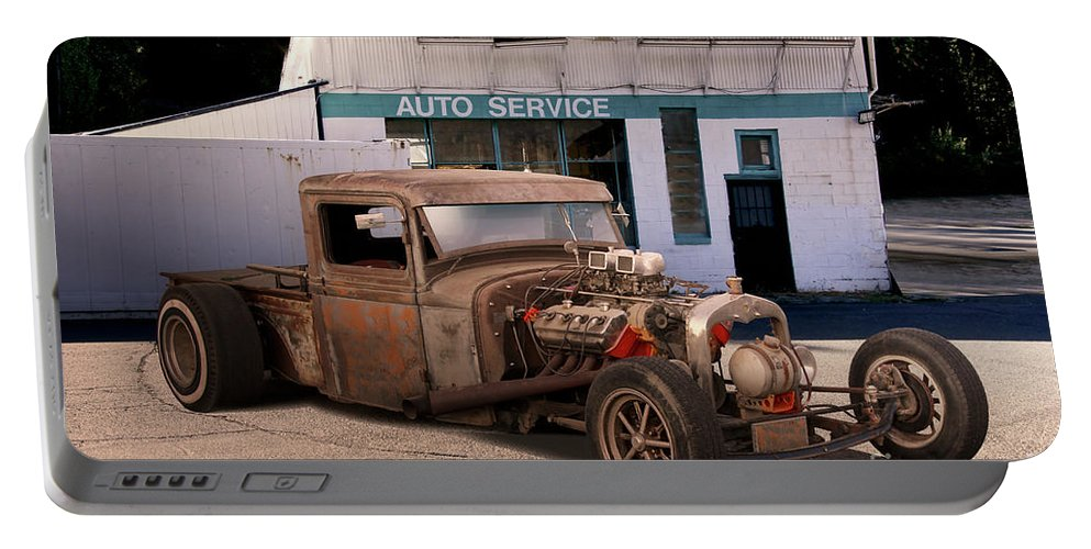 Auto Portable Battery Charger featuring the photograph Raunchy Rat Rod Pickup by Dave Koontz