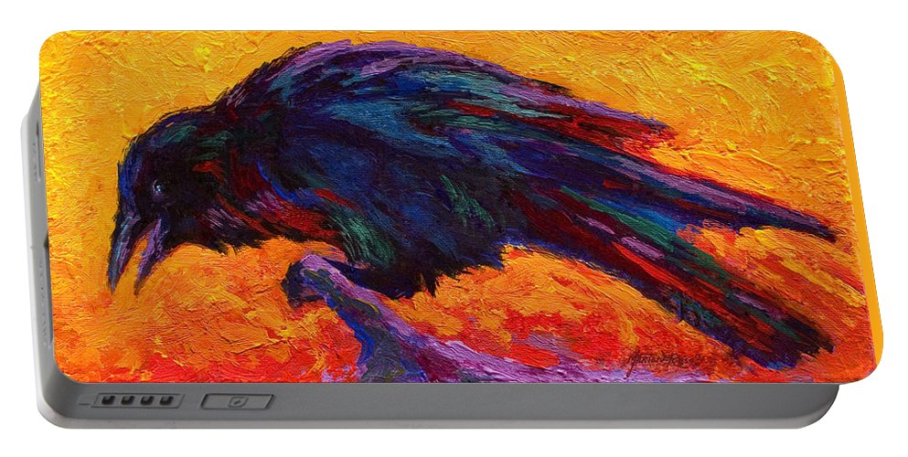 Crows Portable Battery Charger featuring the painting Raven by Marion Rose