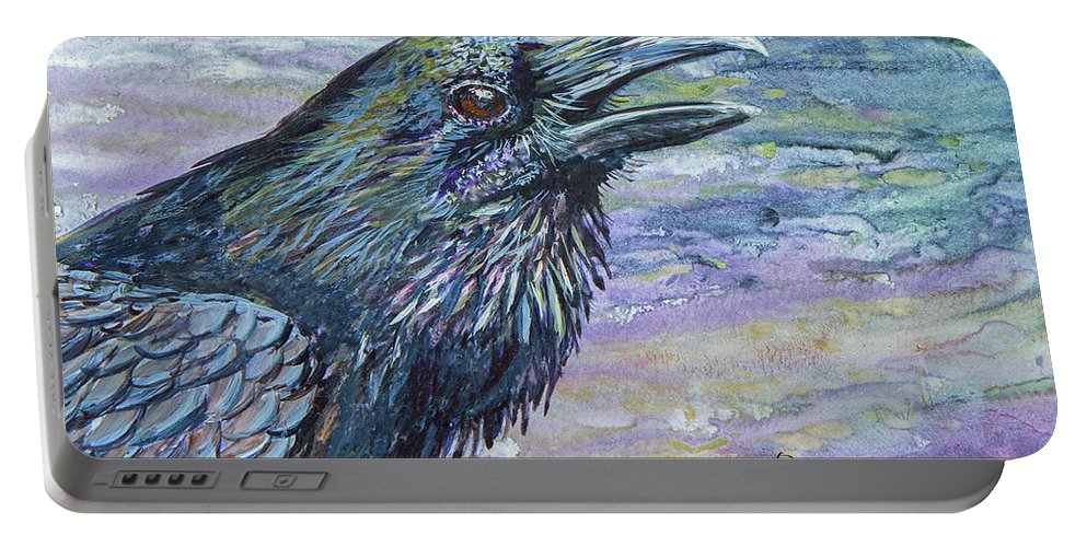 Raven Portable Battery Charger featuring the painting Raven Study 4 by Dee Carpenter