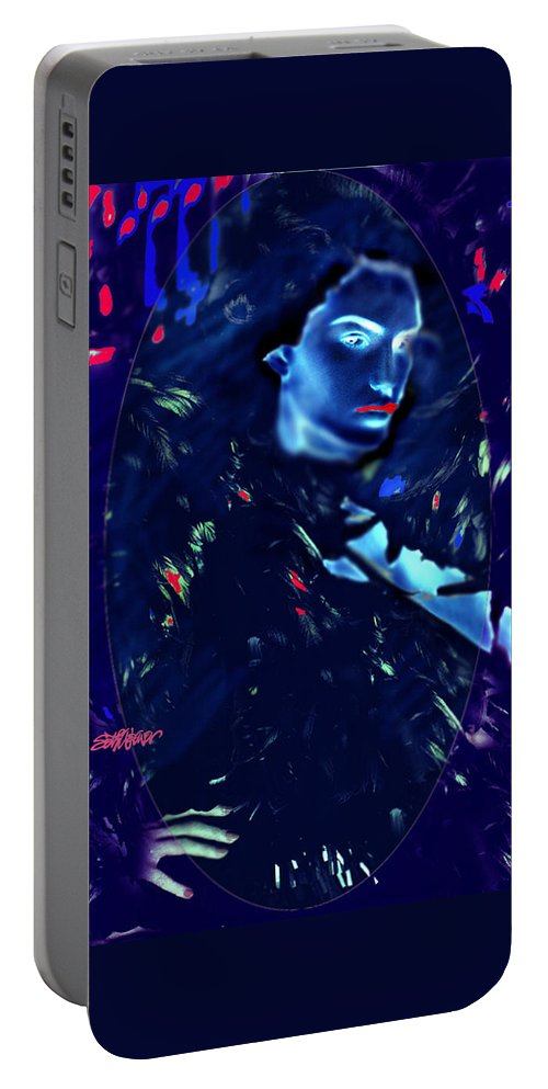 A Bizarre Evil Witch Flies With The Ravens Portable Battery Charger featuring the digital art Raven Woman by Seth Weaver