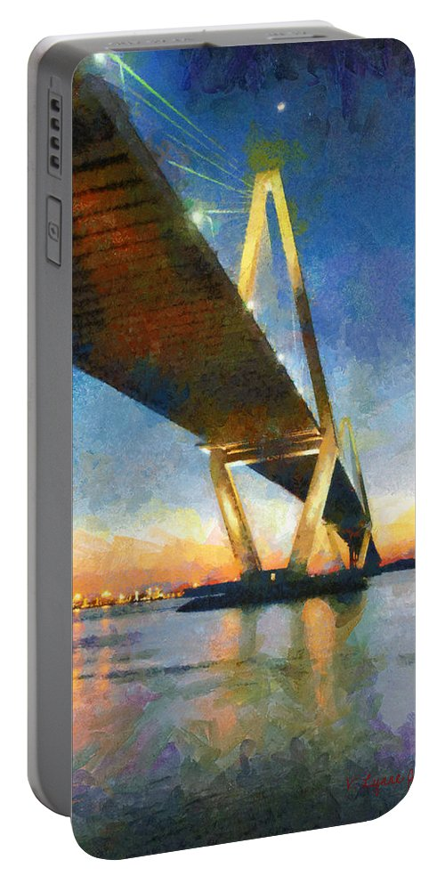 Charleston Portable Battery Charger featuring the painting Ravenel Bridge by Lynne Jenkins