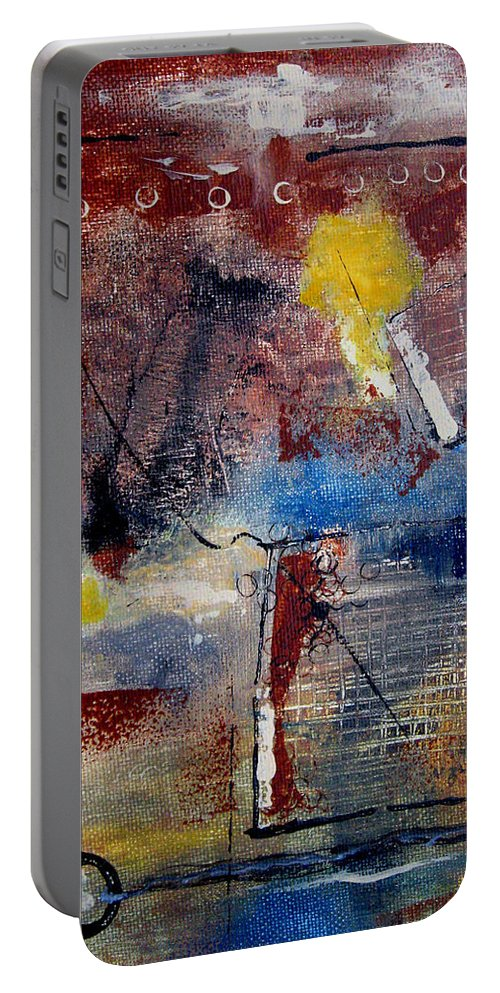 Abstract Portable Battery Charger featuring the painting Raw Emotions II by Ruth Palmer