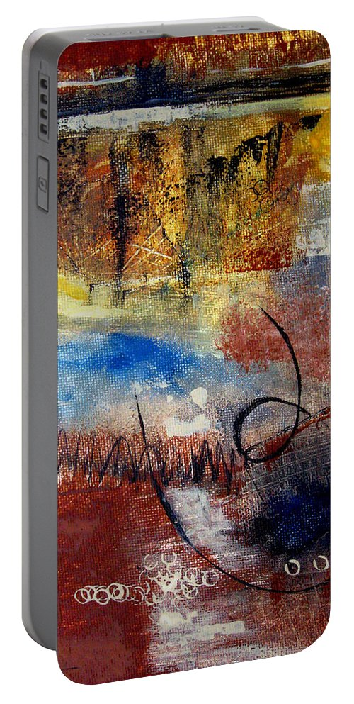 Abstract Portable Battery Charger featuring the painting Raw Emotions by Ruth Palmer