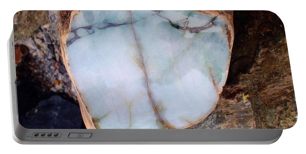 Jade Portable Battery Charger featuring the photograph Raw Jadite Rock by Mary Deal