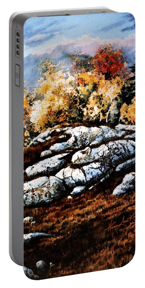 Raw North Portable Battery Charger featuring the painting Raw North by Hanne Lore Koehler