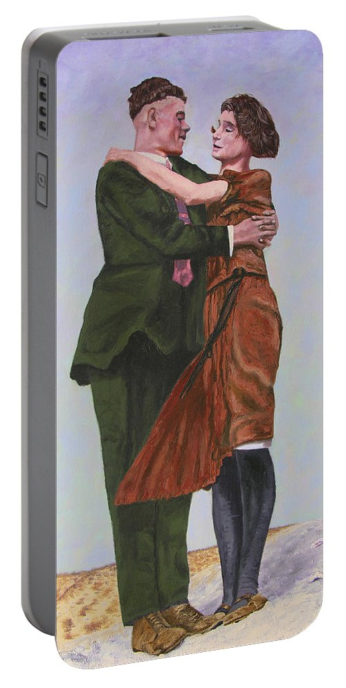 Double Portrait Portable Battery Charger featuring the painting Ray And Isabel by Stan Hamilton