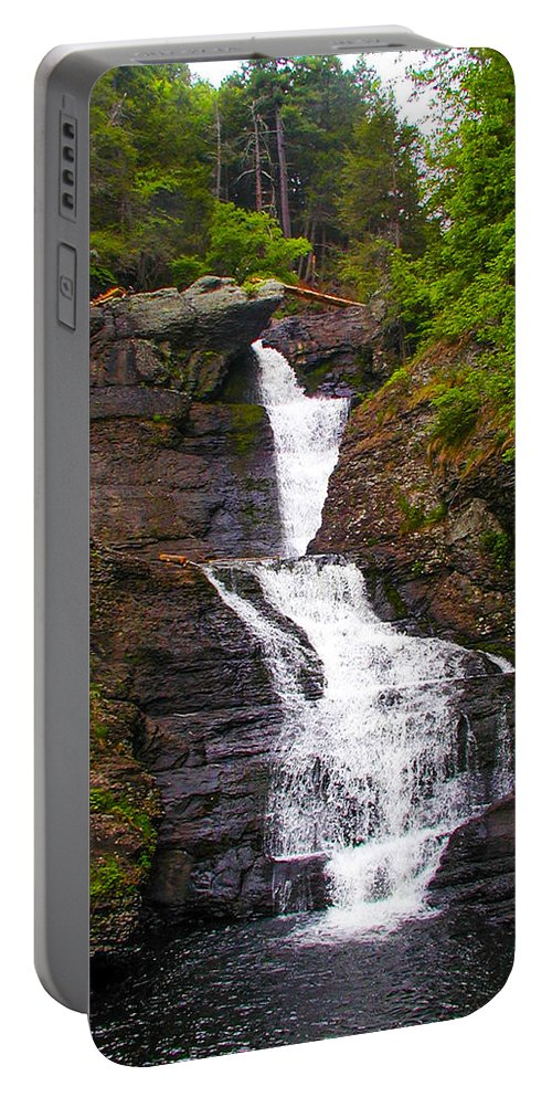 Water Portable Battery Charger featuring the photograph Raymondskill Falls by Bill Cannon
