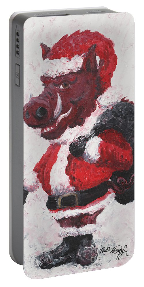 Santa Portable Battery Charger featuring the painting Razorback Santa by Nadine Rippelmeyer