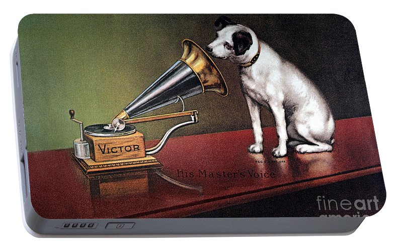 1920 Portable Battery Charger featuring the photograph Rca Victor Trademark by Granger