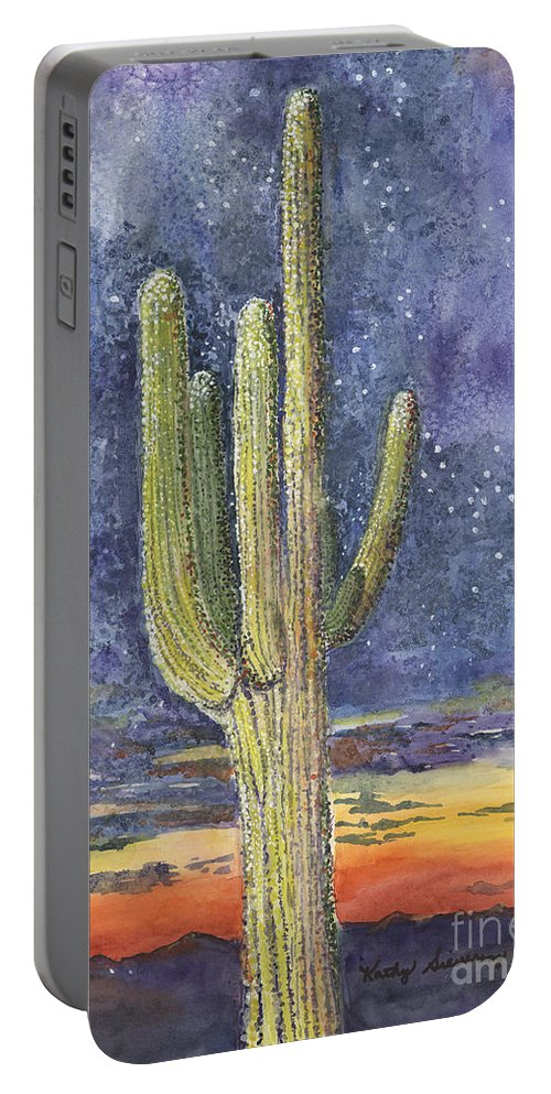 Saguaro Cactus Portable Battery Charger featuring the painting Reach For The Sky by Kathy Sievering