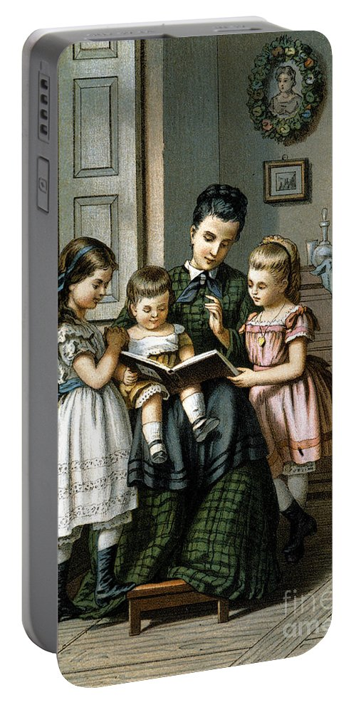 1870 Portable Battery Charger featuring the photograph Reading To The Children by Granger