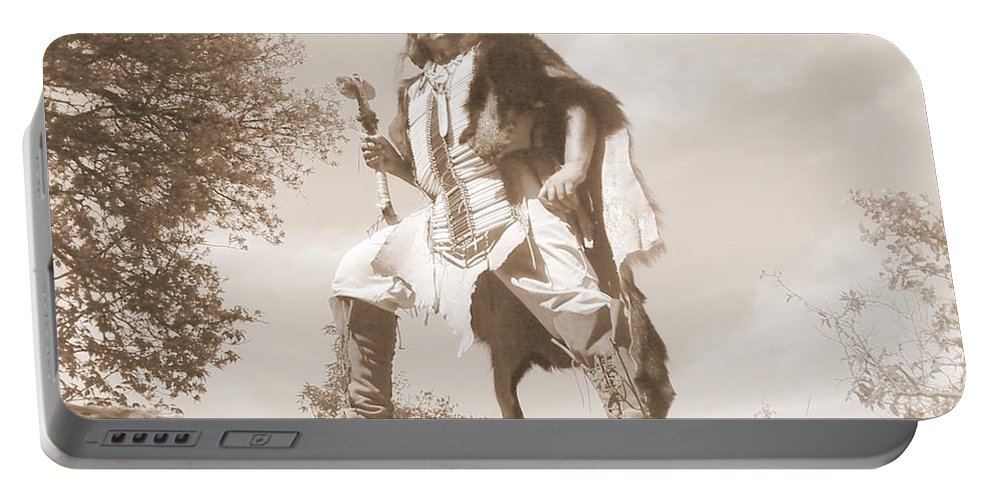 Indian War Club Scout Old Portable Battery Charger featuring the photograph Ready For The Ambush by Cindy New