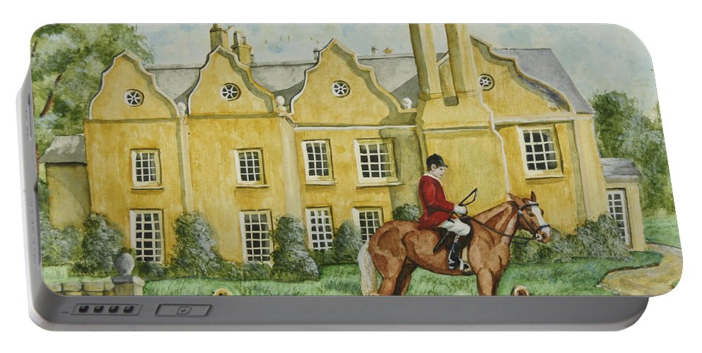 English Manor Home Portable Battery Charger featuring the painting Ready For The Hunt by Charlotte Blanchard