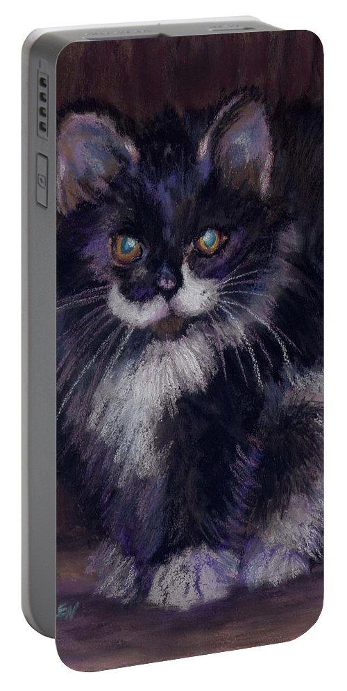 Kitten Portable Battery Charger featuring the painting Ready For Trouble by Sharon E Allen